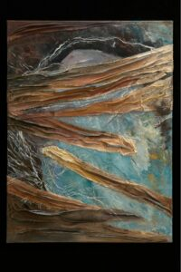 """Cosmic Threads acrylic, found canvas sections, waxed linen 40"""" x 30"""" SOLD"""
