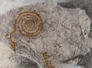 """Spiral of Archimedes gesso, graphite, acrylic, ink, found paper 9"""" x 12"""""""