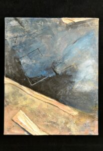 """Edge of Abyss acrylic, found canvas sections 30"""" x 24"""""""