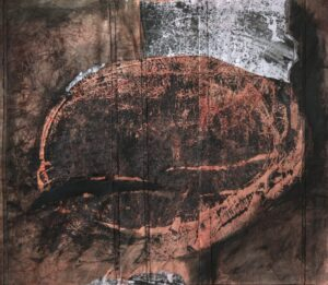 """Concealing and Revealing monotype print, stitched collage, 22"""" x 25"""" SOLD"""
