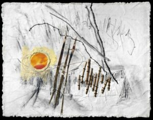 """Oasis of Equanimity, canvas, charcoal, wax linen, acrylic, paper, stocks, corrugated cardboard on panel, 11""""w x 14.5""""h x 3/4""""d"""