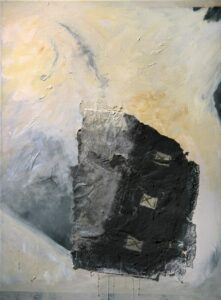 """Across Time acrylic, handmade paper, wax linen, cheesecloth 40"""" x 30"""""""