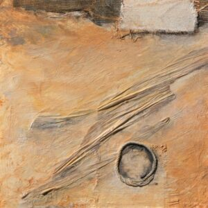 """Places no. 2 acrylic, reconstructed fiber rush, roping on cradle board, 9""""h x 9""""w x 1 & 3/4""""d"""