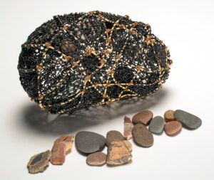 """Bedrock wire fiber rush, waxed linen, lake stones, (knotted & looping) 3""""h x 8""""w x 5""""d"""