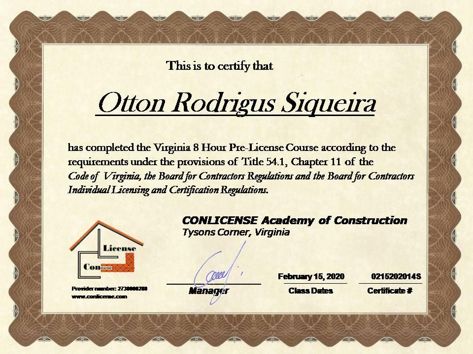 Pre License certificate