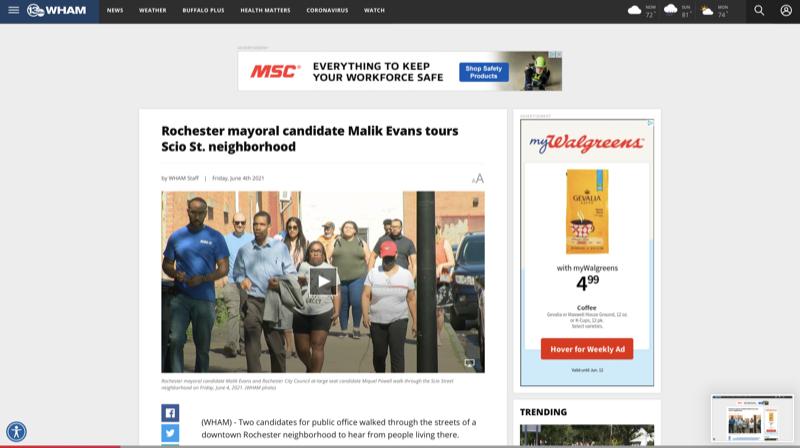 Rochester mayoral candidate Malik Evans tours Scio St. neighborhood