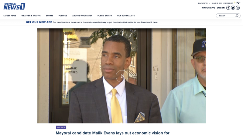 Mayoral candidate Malik Evans lays out economic vision for Rochester