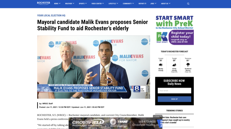 Mayoral candidate Malik Evans proposes Senior Stability Fund to aid Rochester's elderly