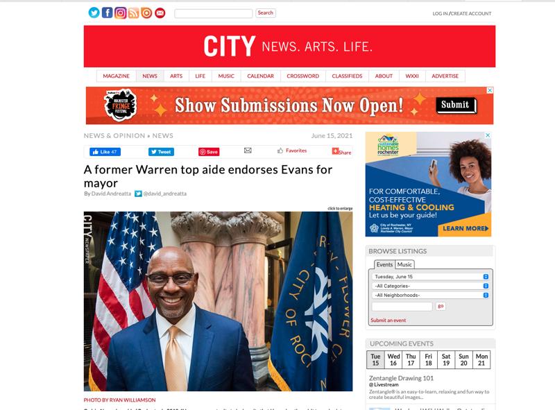 A former Warren top aide endorses Evans for mayor