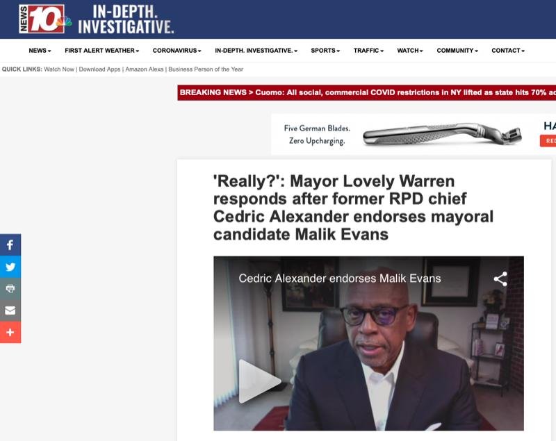 'Really?': Mayor Lovely Warren responds after former RPD chief Cedric Alexander endorses mayoral candidate Malik Evans