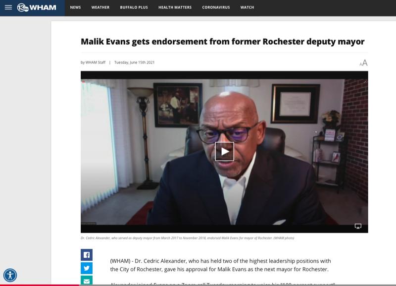 Malik Evans gets endorsement from former Rochester deputy mayor