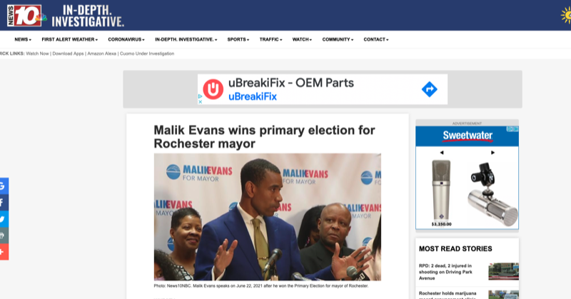 Malik Evans wins primary election for Rochester mayor
