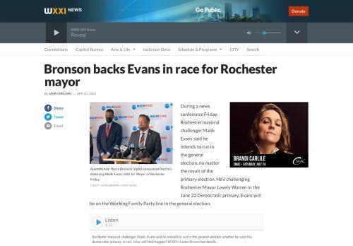 Bronson backs Evans in race for Rochester mayor