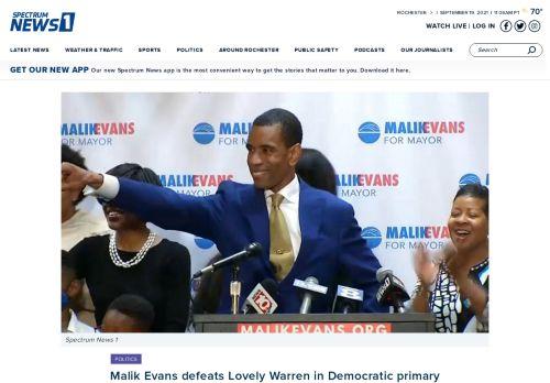 Malik Evans defeats Lovely Warren in Democratic primary for Rochester mayor