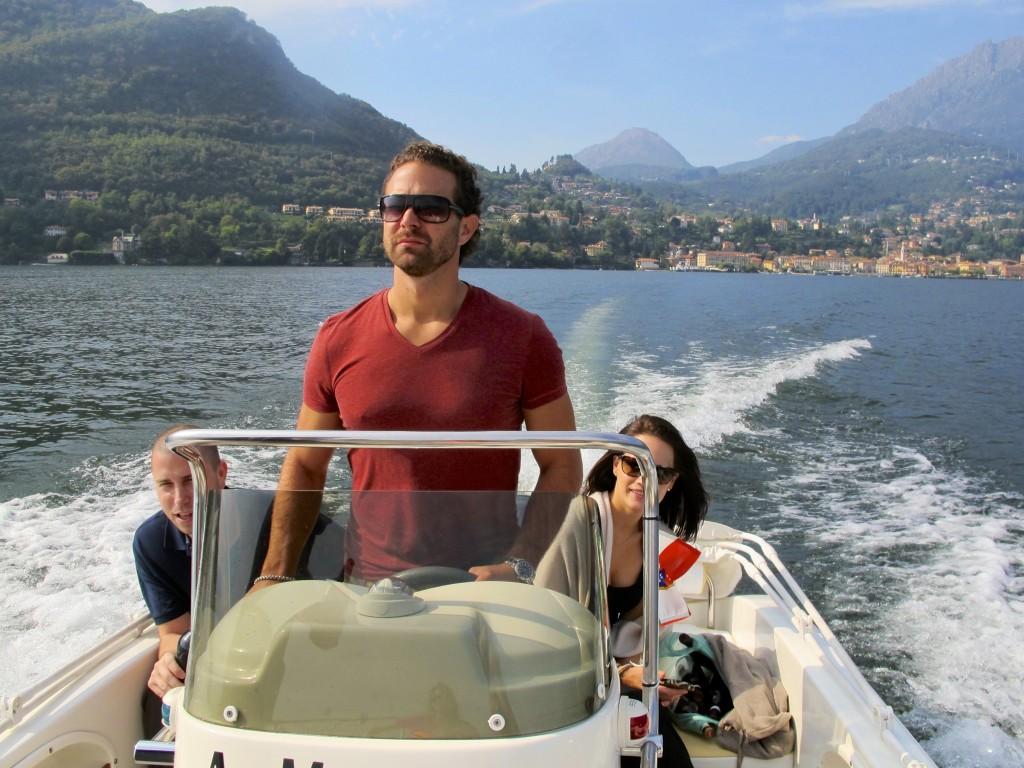 Greg Driving Boat on Lake Como