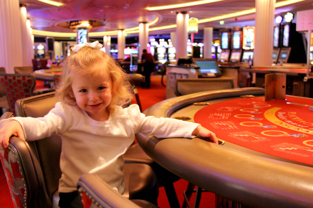 Next, she discovered the blackjack tables - that is definitely my little girl