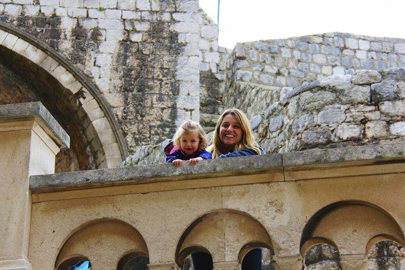 Jen and Julia near the main city gate