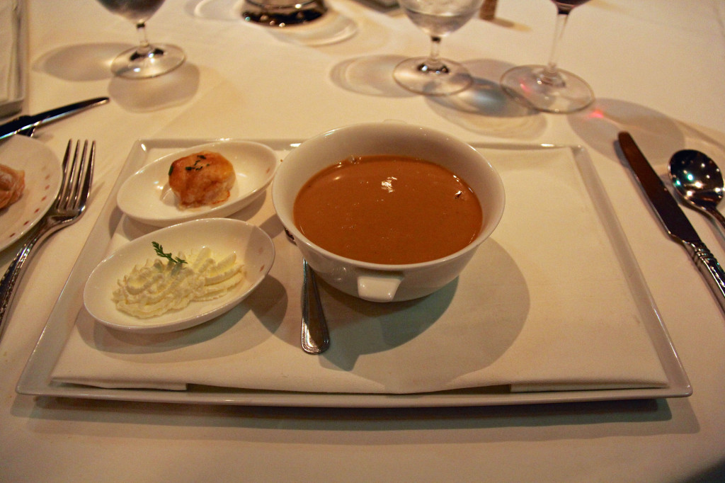 Creamy Maine Lobster Bisque - Leek and Shallot Flan, Cognac Cream, Crispy Sweet Yellow Corn Beignets