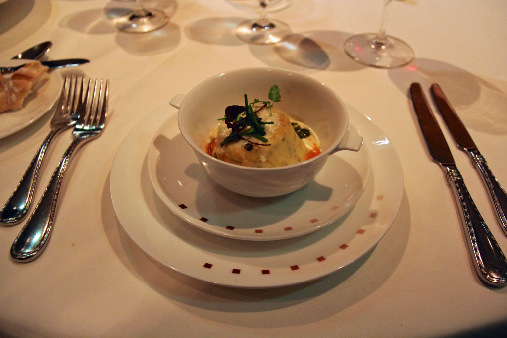 Warm Goat Cheese Soufflé - Smoked Tomato Coulis, Parmesan Cream, Basil Pesto