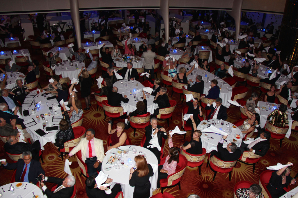 In the main dining room where, on the last night they featured a party to introduce the entire staff