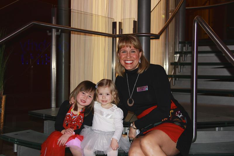 Julia and her bestie, Ava with the Cruise Director, Patti Honacki