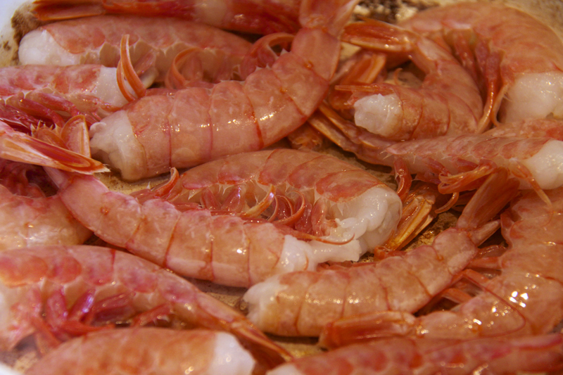 We kept the shells on the shrimp