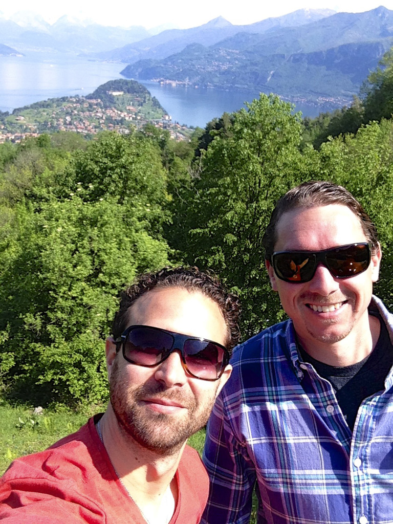 """Matt and I pulled over for a """"selfie"""" on the way to get his camera.  Bellagio is the peninsula behind us"""