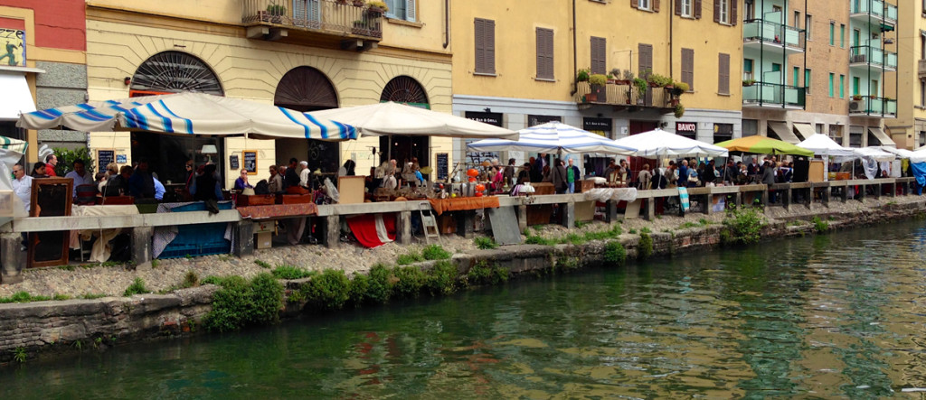 Vendors display along the canal