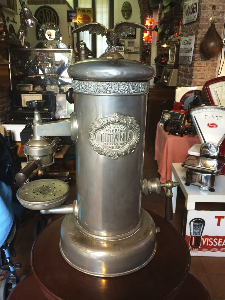 The stores also sell antiques - here is a classic espresso maker once used in a coffee bar
