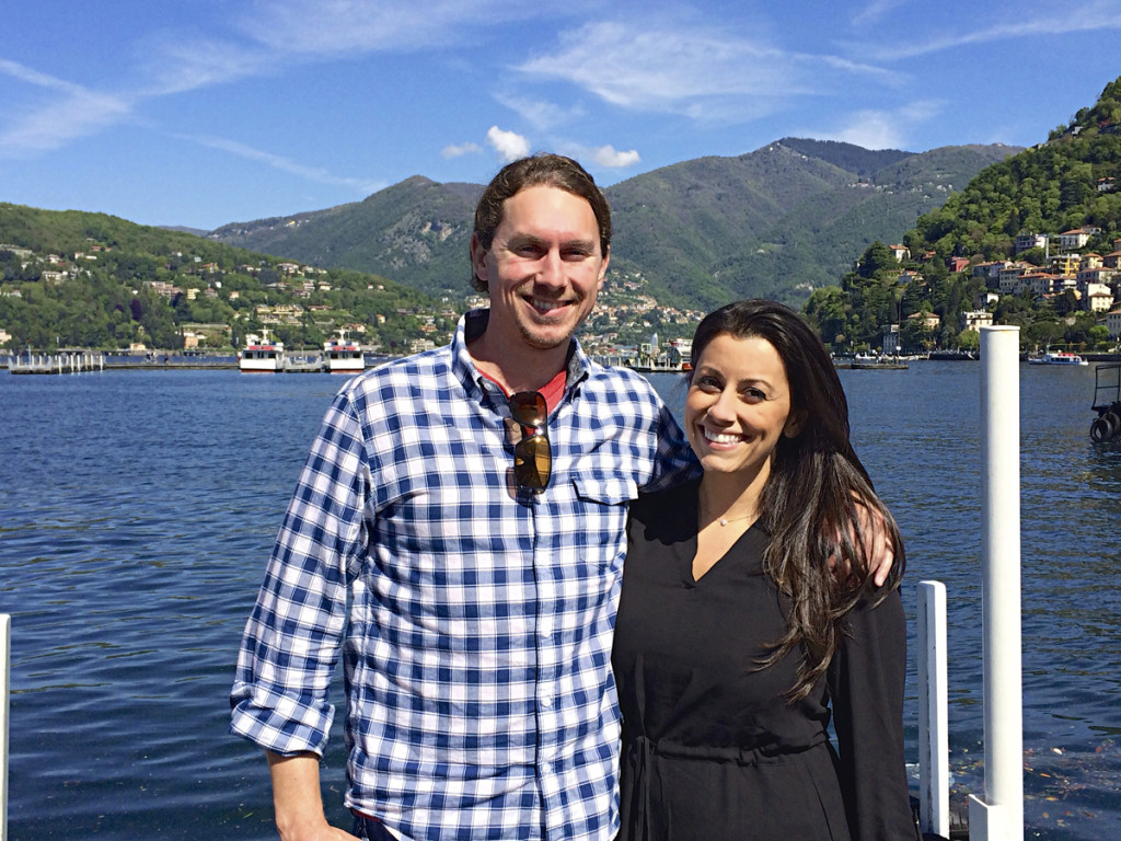 Matt and Jess take a picture in front of Lake Como