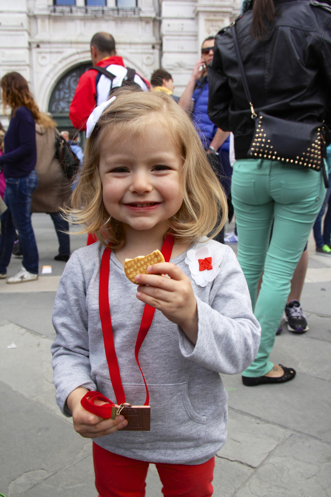 Julia may have been more interested in the biscotti than the medal