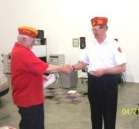 Apr 21, 2011_ Jack Cunningham presented Life Mbrship pin.JPG