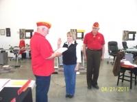 Gail Hughes being sworn in as an Associate member by Arnie Strawn, DetCmdt.JPG
