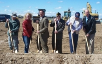 Mayor of Meridian and staff breaking grounds for a Verterns Memorial.JPG