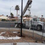 Digger Derrick installed composite light pole