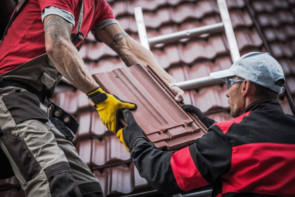 red roof tiles installation roofing contractor
