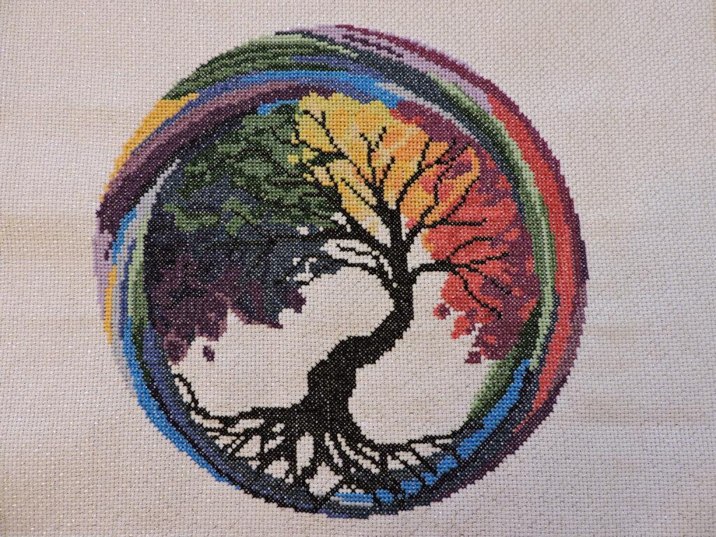 rainbow tree of life in circle