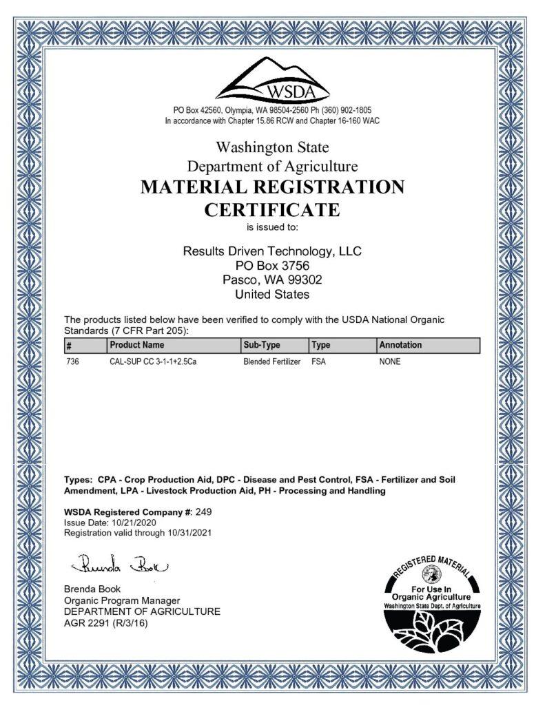 WSDA Organic Registration 2021