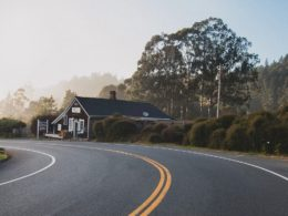 Winding road through a small town