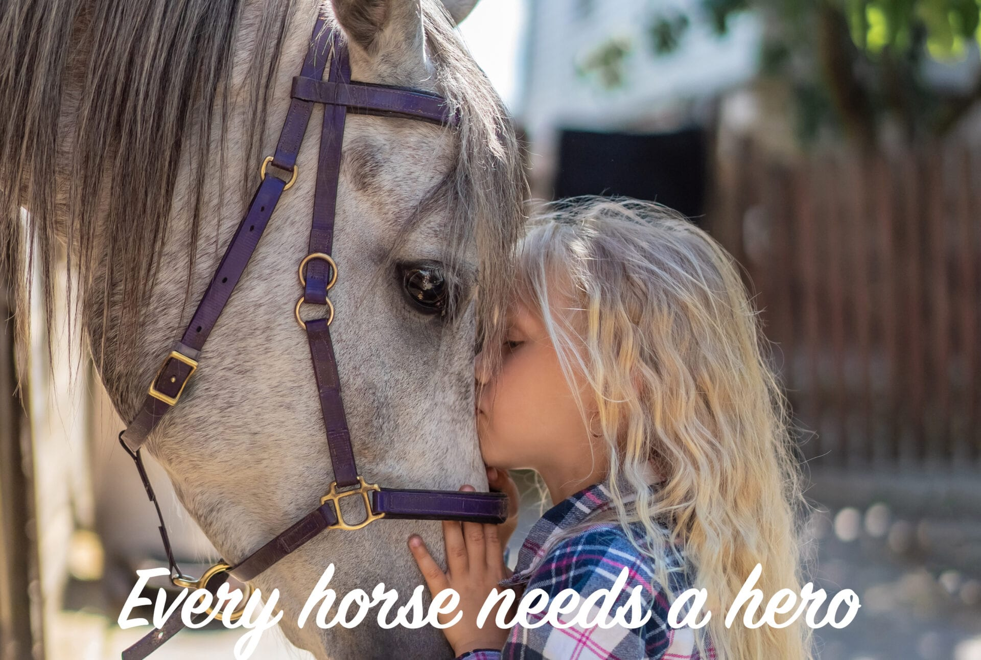 side view of preteen kid hugging horse at farm