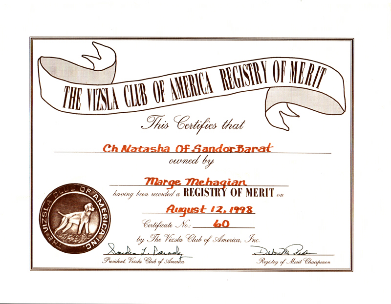 Registry of Merit Certificate from the Vizsla Club of America