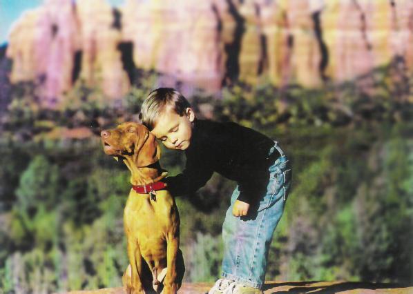 "Boy & Dog: Puppy sired by ""Indy"""