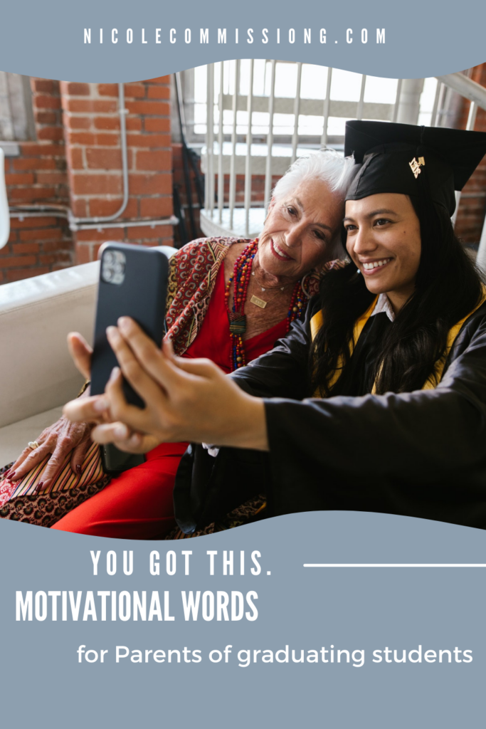 graphic with mom and daughter with daughter in graduation gown taking a selfie