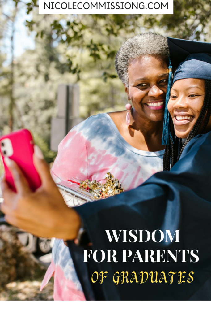 pinterest graphic of mom with daugher in cap and gown taking selfie