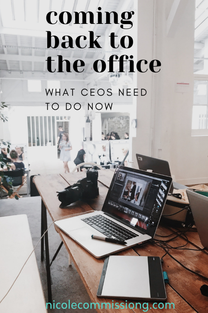 another graphic in an office about what CEOs need to do as people go back into work
