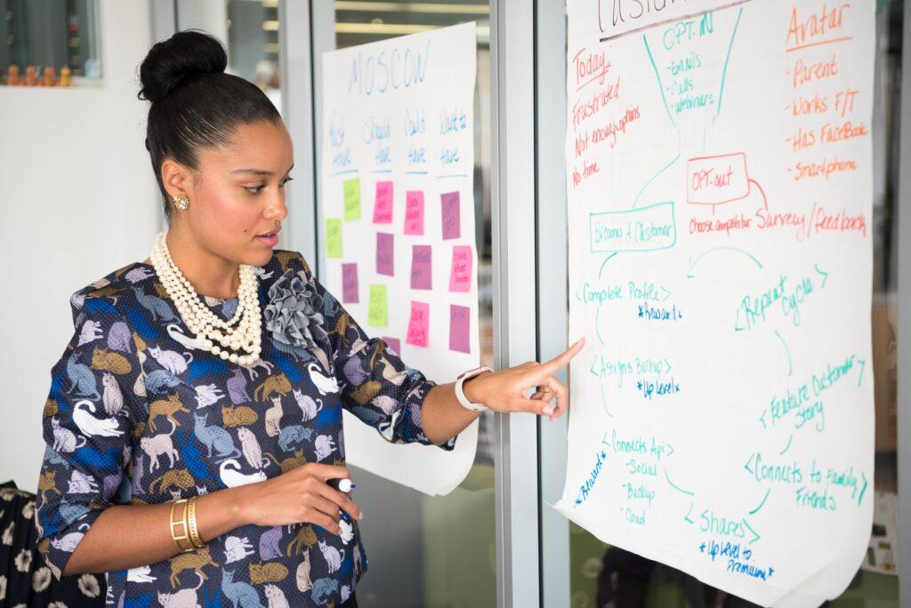 woman in office analyzing data on a tear sheet