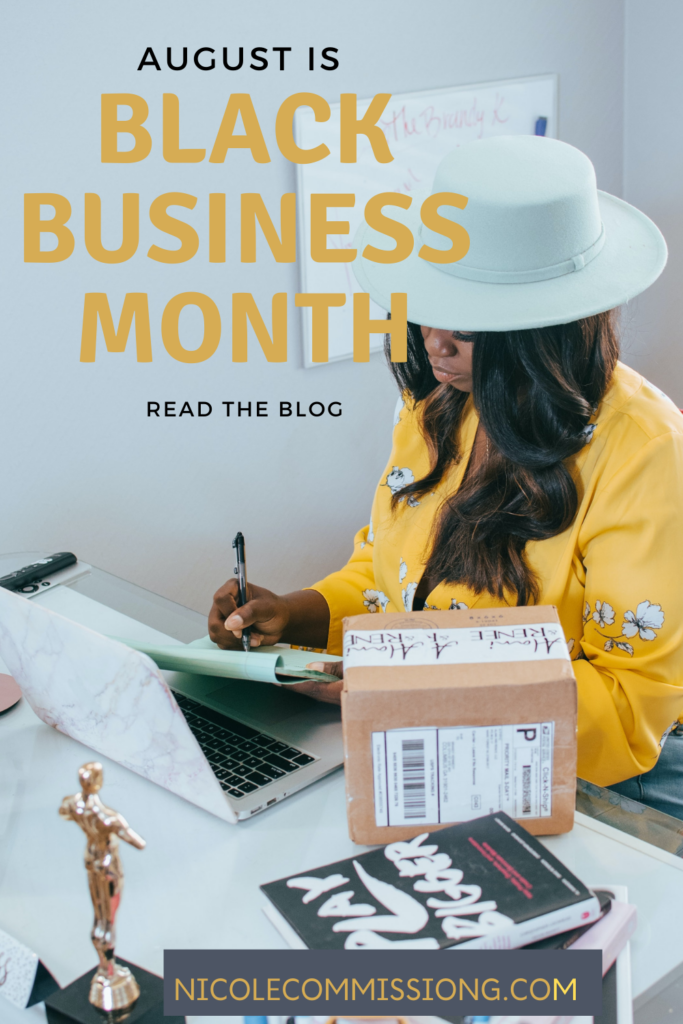 graphic featuring a woman in yellow blouse & white hat filling out orders as part of a Black Business Month article on Nicole Commissiong.com