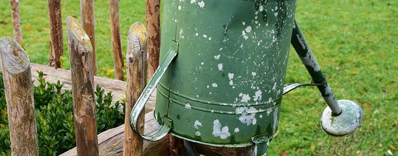 a watering can in an English cottage garden
