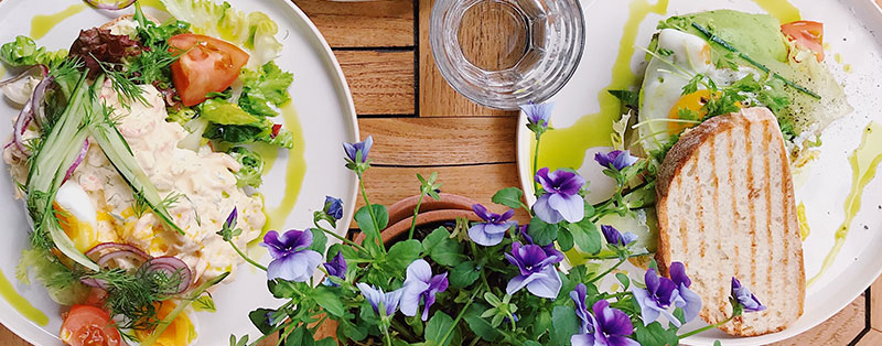 dishes with flowers