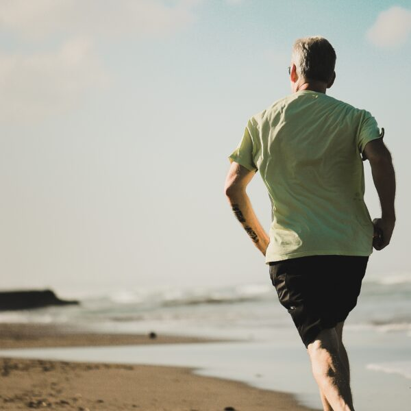 Man running on a beach